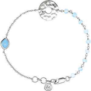 Sterling Silver BRACELET Complete with Stone UNEVEN AND ROUND VARIOUS BLUE CHALCEDONY Polished 7.5 I. Price: $112.19