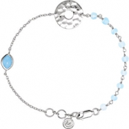 Sterling Silver BRACELET Complete with Stone UNEVEN AND ROUND VARIOUS BLUE CHALCEDONY Polished 7.5 I
