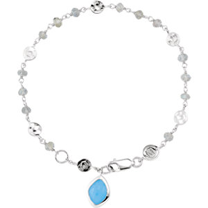 Sterling Silver BRACELET Complete with Stone UNEVEN & ROUND VARIOUS LABRADORITE AND BLU CHALCEDONY P. Price: $96.83