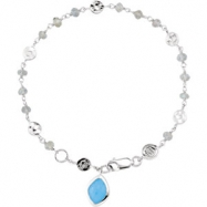 Sterling Silver BRACELET Complete with Stone UNEVEN & ROUND VARIOUS LABRADORITE AND BLU CHALCEDONY P