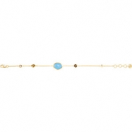18kt Yellow Vermeil BRACELET Complete with Stone UNEVEN AND ROUND VARIOUS BLU CHALCEDONY, SMKY QUAR,