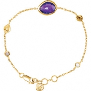 18kt Yellow Vermeil BRACELET Complete with Stone UNEVEN & ROUND VARIOUS AMETHYST, SMKY QUARTZ, MOONS