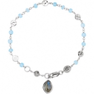 Sterling Silver BRACELET Complete with Stone UNEVEN & ROUND VARIOUS BLUE CHALCEDONY & LABRADORITE Po
