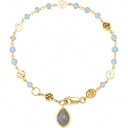 18kt Yellow Vermeil BRACELET Complete with Stone UNEVEN & ROUND VARIOUS BLUE CHALCEDONY & LABRADORIT