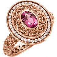 14kt Rose Ring Complete with Stone I1 Oval 07.00X05.00 MM Pink Tourmaline Polished PINK TOURMAL & 1/