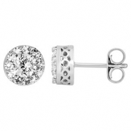 14kt White Complete with Stone Diamond 7/8 VARIOUS I/ I2 NONE NONE NONE Pair Polished DIAMOND EARRIN
