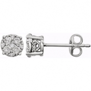 14kt White 3/8 Polished Diamond Earrings