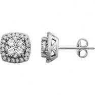 14kt White 3/4 CTW Diamond Earrings