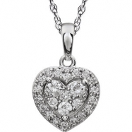 14kt White 3/8CTW Diamond Heart Necklace