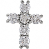 14kt White Complete with Stone 3/4 CTW Diamond Cross Pendant