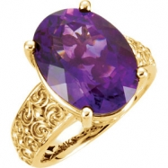 14kt Yellow Ring Complete with Stone Oval 16.00X12.00 MM NONE Polished AMETHYST SCULPTURAL RING