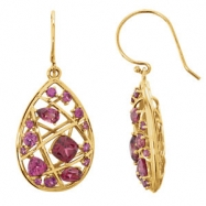14kt Yellow EARRING Complete with Stone 35.60X16.10 MM PAIR VARIOUS VARIOUS RHODOLITE GARNET Polishe