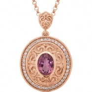14kt Rose NECKLACE Complete with Stone I1 Oval 08.00X06.00 MM Pink Tourmaline Polished DIA 18INCH SC