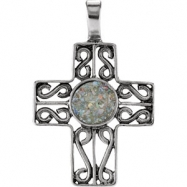 Sterling Silver Pendant Complete with Stone 40.50X26.60 MM Polished CROSS PEND W/ANCIENT ROMAN GLA