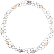 Sterling Silver NECKLACE Complete with Stone 40.00 INCH NA 10.00-11.00 MM FRSHWATER CULTURED PEARL P