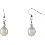 Sterling Silver EARRING Complete with Stone NONE NA 10.00-11.00 MM FRESHWATER CULTURED PEARL Polishe