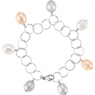 Sterling Silver BRACELET Complete with Stone 07.25 INCH NA 10.00- 11.00 MM FRESHWATER CULTURED PEARL