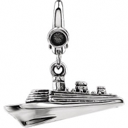 Sterling Silver CHARM Complete No Setting 21.00X10.00 MM Polished CRUISE SHIP CHARM