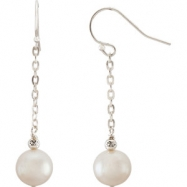 EARRINGS NONE 08.50-09.50 MM WHITE PEARL NONE Complete with Stone Sterling Silver Polished FW CULTUR
