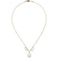 14kt Yellow NECKLACE Complete with Stone 16.00 INCH VARIOUS VARIOUS PEARL Polished FRESHWATER CULTUR