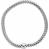 Sterling Silver BRACELET Complete No Setting WHITE RHODIUM PLATED 4.30 MM Polished WOVEN STRETCH W R