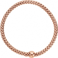 Sterling Silver BRACELET Complete No Setting ROSE GOLD PLATED 04.30 MM Polished WOVEN STRETCH RGP BR