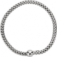 Sterling Silver BRACELET Complete No Setting BLACK RHODIUM PLATED 04.30 MM Polished WOVEN STRETCH BL