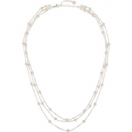 Sterling Silver NECKLACE Complete with Stone 17.00 INCH 04.00-04.50 MM PEARL Polished FRESHWATER PEA