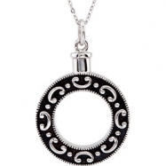 """Sterling Silver NECKLACE Complete No Setting 30.60X25.50 MM Polished CELEBRATE LIFE ASH HOLD W/18""""C"""
