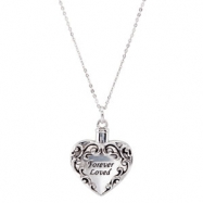 "Sterling Silver NECKLACE Complete No Setting 26X23.7 MM Polished ASH HOLD 2/18""CH FILL KIT&PKG"