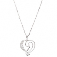 "Sterling Silver NECKLACE Complete No Setting 25.20X23.40 MM Polished FINE TUNED HRT NCK W/18""CH&PKG"