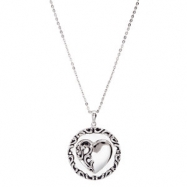"Sterling Silver NECKLACE Complete No Setting 25.30 MM Polished MOTHERS PRAYER NCK W/18""CH&PKG"