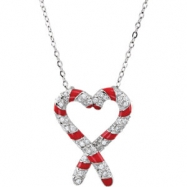 "Sterling Silver NECKLACE Complete with Stone 24.40X19.50 MM Polished CANDY CANE CZ NCK W/18"" & PKG"