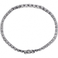 Sterling Silver BRACELET Complete with Stone ROUND 04.00 MM CUBIC ZIRCONIA Polished 7 INCH CZ BRACEL