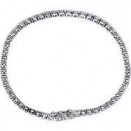Sterling Silver BRACELET Complete with Stone ROUND 03.00 MM CUBIC ZIRCONIA Polished 7 INCH CZ BRACEL