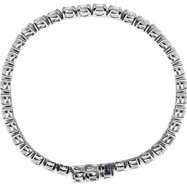 Sterling Silver BRACELET Complete with Stone ROUND 05.00 MM CZ Polished 7.5 INCH CZ BRACELET