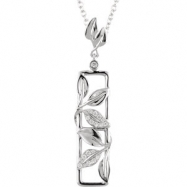 14kt White NECKLACE Complete with Stone 18.00 INCH ROUND VARIOUS Diamond Polished 1/8CTW DIAMOND 18""