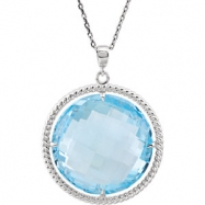 Sterling Silver NECKLACE Complete with Stone ROUND 20.00 MM SKY BLUE TOPAZ Polished 18 INCH NECKLACE