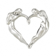 "Sterling Silver NECKLACE Complete No Setting 28.00X29.00 MM Polished UNIV LOVE HRT 18""NCK W/CARD&BX"