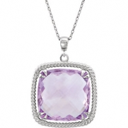 Sterling Silver NECKLACE Complete with Stone ANTIQUE SQUARE 16.00X16.00 MM ROSE DE FRANCE QUARTZ Pol