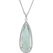 Sterling Silver NECKLACE Complete with Stone PEAR 30.00X10.00 MM GREEN QUARTZ Polished 18 INCH NECKL