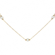 14kt Yellow NECKLACE COMPLETELY SET 37.50 INCH Polished GRANULTD PEARL STATN NECKLACE