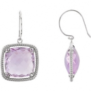 EARRING PAIR ANTIQUE SQUARE 16.00X16.00 MM ROSE DE FRANCE QUARTZ NONE Complete with Stone Sterling S