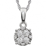 14kt White 1/5 Diamond Necklace