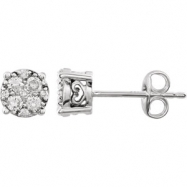 14kt White 1/3 Polished Diamond Earrings