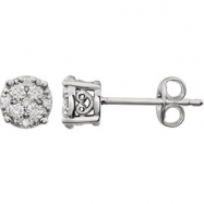 14kt White 1/4 Polished Diamond Earrings