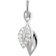 14kt White NECKLACE Complete with Stone 18.00 INCH ROUND VARIOUS Diamond Polished .06CTW DIAMOND 18