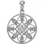 14kt White Pendant Complete with Stone ROUND VARIOUS I1  G/H Polished 1/8 CTW DIAMOND PENDANT