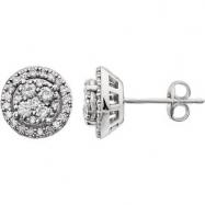 14kt White 1/2 CTW Diamond Earring With Backs