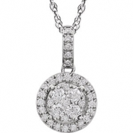 "14kt White NECKLACE Complete with Stone ROUND VARIOUS Diamond Polished 1/2CTW DIAMOND 18"" NCK"